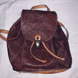 Patricia Nash Floral Embossed Leather Backpack